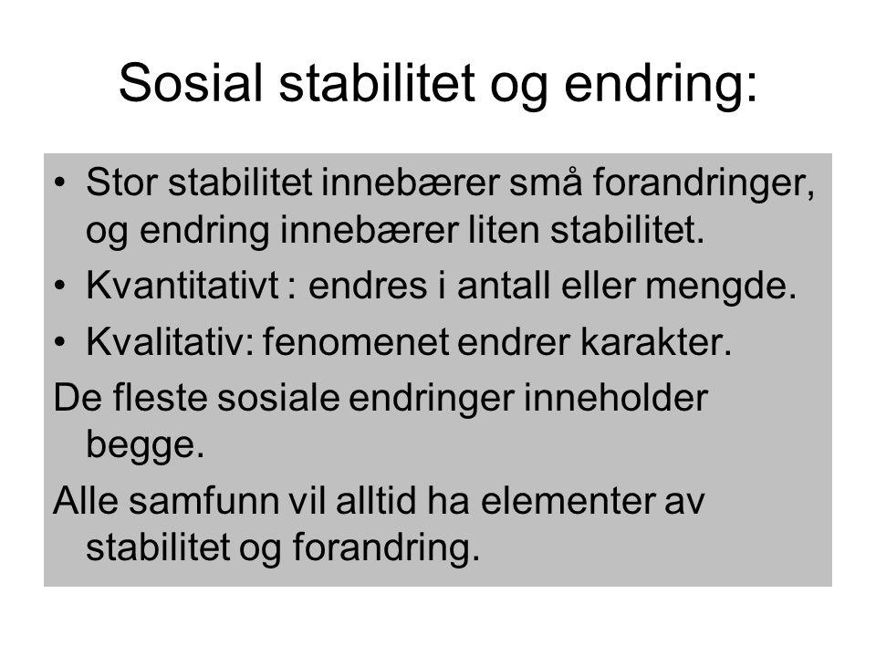 Sosial stabilitet og endring: Stor stabilitet innebærer små forandringer, og endring innebærer liten stabilitet. Kvantitativt : endres i antall eller