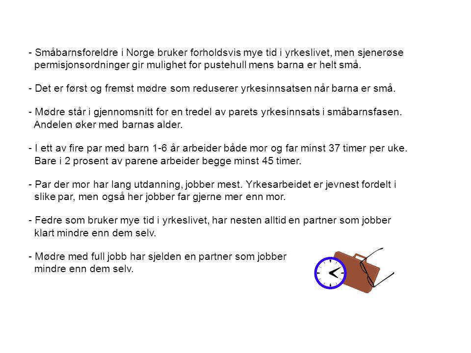 - Småbarnsforeldre i Norge bruker forholdsvis mye tid i yrkeslivet, men sjenerøse permisjonsordninger gir mulighet for pustehull mens barna er helt sm