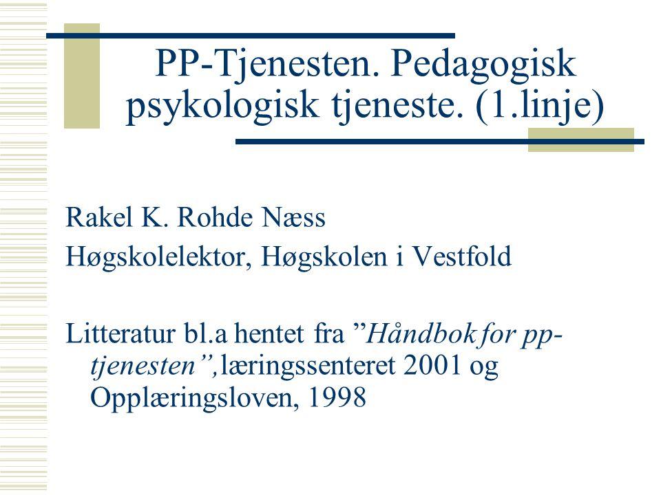 """PP-Tjenesten. Pedagogisk psykologisk tjeneste. (1.linje) Rakel K. Rohde Næss Høgskolelektor, Høgskolen i Vestfold Litteratur bl.a hentet fra """"Håndbok"""