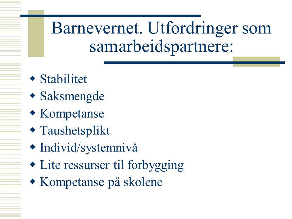 Barnevernet. Utfordringer som samarbeidspartnere:  Stabilitet  Saksmengde  Kompetanse  Taushetsplikt  Individ/systemnivå  Lite ressurser til for