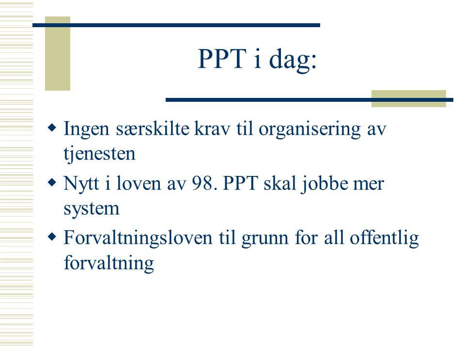 PPT i dag:  Ingen særskilte krav til organisering av tjenesten  Nytt i loven av 98. PPT skal jobbe mer system  Forvaltningsloven til grunn for all