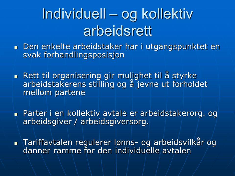 Individuell – og kollektiv arbeidsrett Den enkelte arbeidstaker har i utgangspunktet en svak forhandlingsposisjon Den enkelte arbeidstaker har i utgan