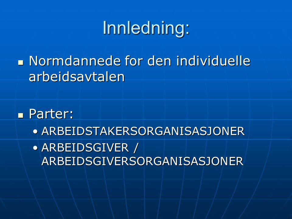 Innledning: Normdannede for den individuelle arbeidsavtalen Normdannede for den individuelle arbeidsavtalen Parter: Parter: ARBEIDSTAKERSORGANISASJONERARBEIDSTAKERSORGANISASJONER ARBEIDSGIVER / ARBEIDSGIVERSORGANISASJONERARBEIDSGIVER / ARBEIDSGIVERSORGANISASJONER