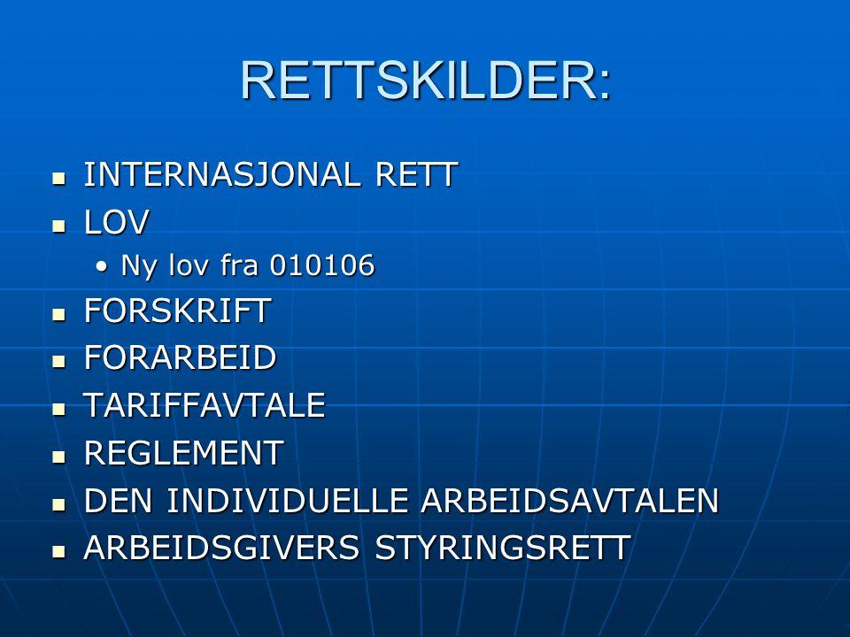 RETTSKILDER: INTERNASJONAL RETT INTERNASJONAL RETT LOV LOV Ny lov fra 010106Ny lov fra 010106 FORSKRIFT FORSKRIFT FORARBEID FORARBEID TARIFFAVTALE TARIFFAVTALE REGLEMENT REGLEMENT DEN INDIVIDUELLE ARBEIDSAVTALEN DEN INDIVIDUELLE ARBEIDSAVTALEN ARBEIDSGIVERS STYRINGSRETT ARBEIDSGIVERS STYRINGSRETT