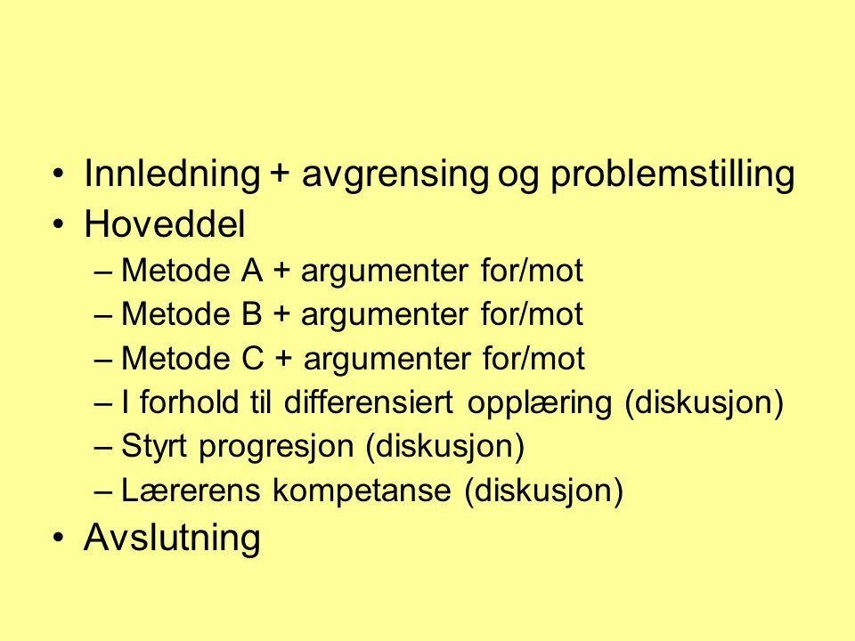 Innledning + avgrensing og problemstilling Hoveddel –Metode A + argumenter for/mot –Metode B + argumenter for/mot –Metode C + argumenter for/mot –I forhold til differensiert opplæring (diskusjon) –Styrt progresjon (diskusjon) –Lærerens kompetanse (diskusjon) Avslutning