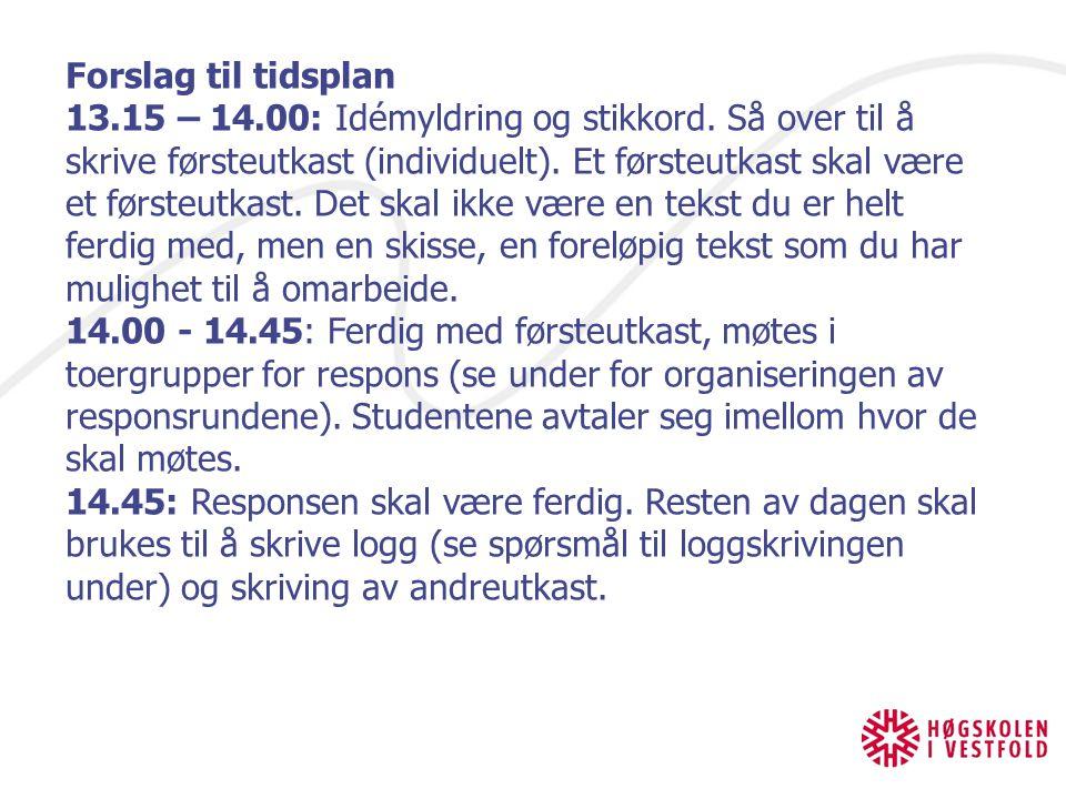 Forslag til tidsplan 13.15 – 14.00: Idémyldring og stikkord.
