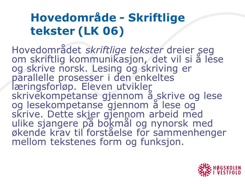 Hovedområde - Skriftlige tekster (LK 06) Hovedområdet skriftlige tekster dreier seg om skriftlig kommunikasjon, det vil si å lese og skrive norsk.