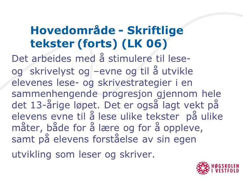 Kompetansemål - Skriftlige tekster Etter 2.