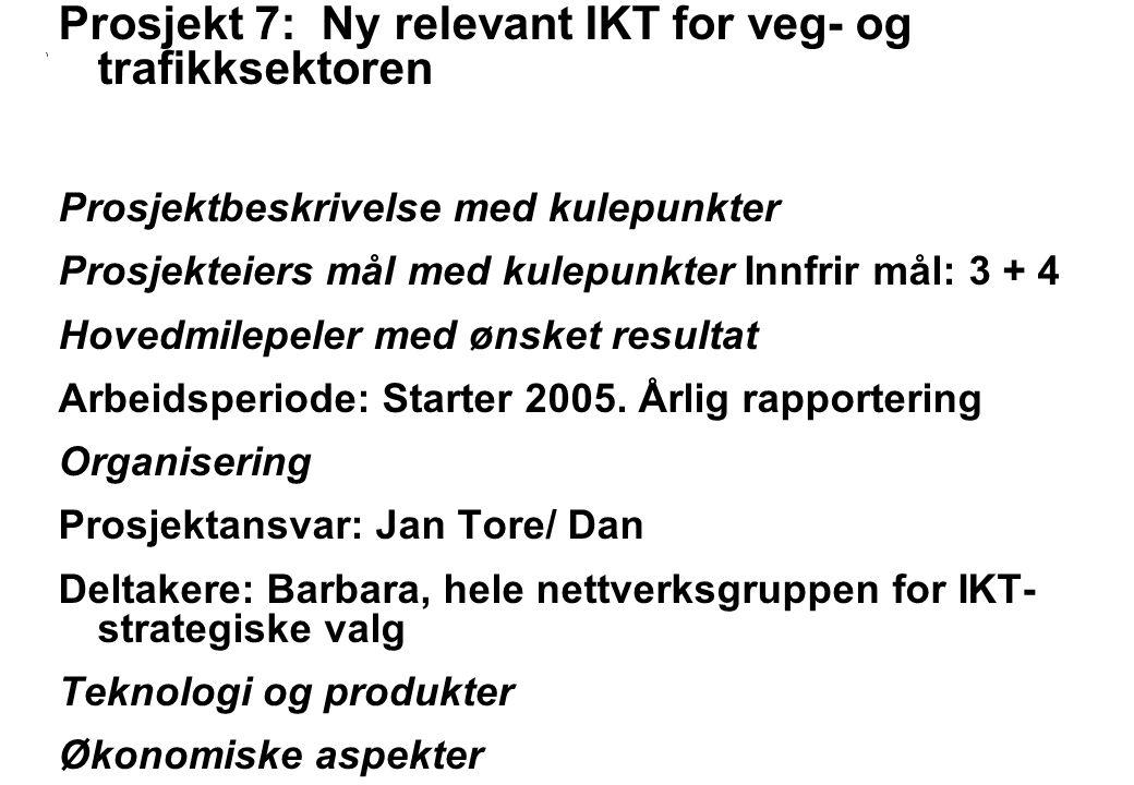 Rev 2003 Nordisk Vejteknisk Forbund NVF-11: Informationsteknologi 11 Prosjekt 7: Ny relevant IKT for veg- og trafikksektoren Prosjektbeskrivelse med kulepunkter Prosjekteiers mål med kulepunkter Innfrir mål: 3 + 4 Hovedmilepeler med ønsket resultat Arbeidsperiode: Starter 2005.