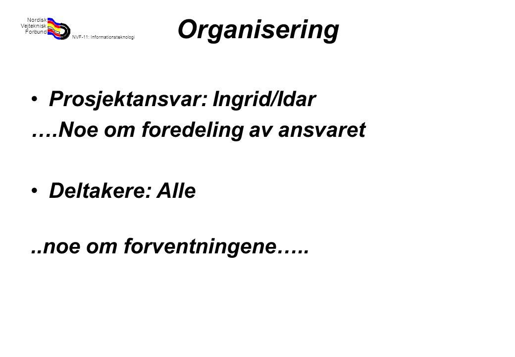 Rev 2003 Nordisk Vejteknisk Forbund NVF-11: Informationsteknologi 18 Organisering Prosjektansvar: Ingrid/Idar ….Noe om foredeling av ansvaret Deltakere: Alle..noe om forventningene…..