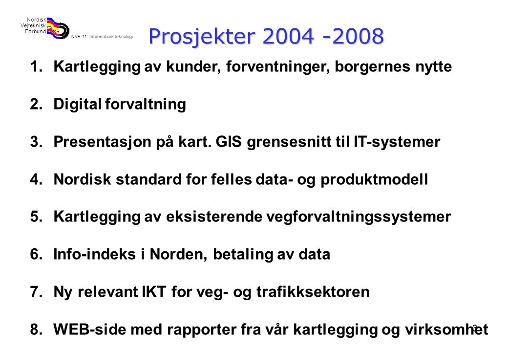Rev 2003 Nordisk Vejteknisk Forbund NVF-11: Informationsteknologi 3 Prosjekter 2004 -2008 1.Kartlegging av kunder, forventninger, borgernes nytte 2.Digital forvaltning 3.Presentasjon på kart.