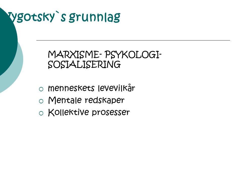 Vygotsky`s grunnlag MARXISME- PSYKOLOGI- SOSIALISERING  menneskets levevilkår  Mentale redskaper  Kollektive prosesser