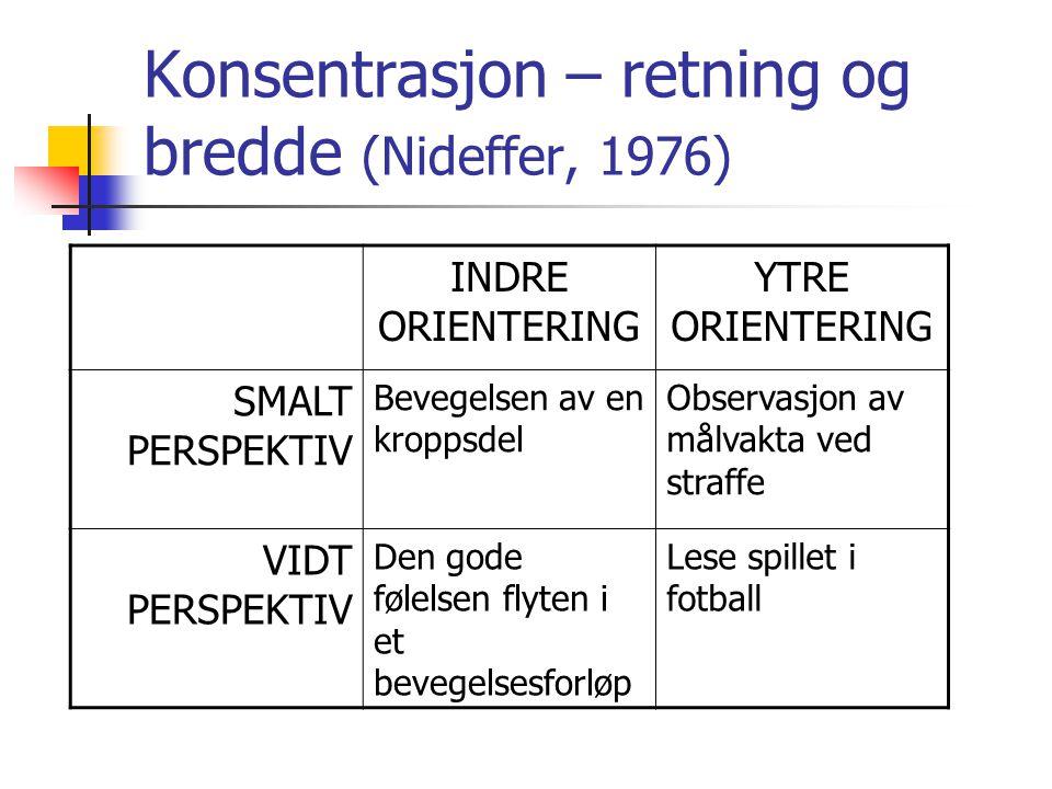 Konsentrasjon – retning og bredde (Nideffer, 1976) INDRE ORIENTERING YTRE ORIENTERING SMALT PERSPEKTIV Bevegelsen av en kroppsdel Observasjon av målva