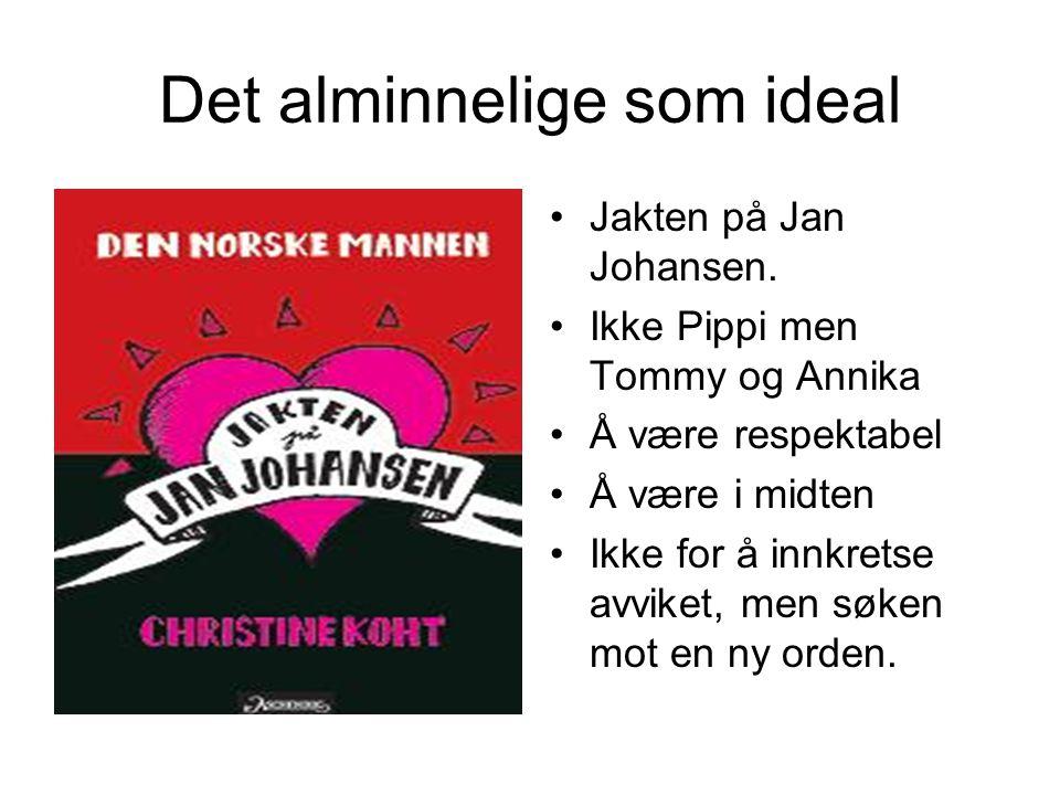Det alminnelige som ideal Jakten på Jan Johansen. Ikke Pippi men Tommy og Annika Å være respektabel Å være i midten Ikke for å innkretse avviket, men