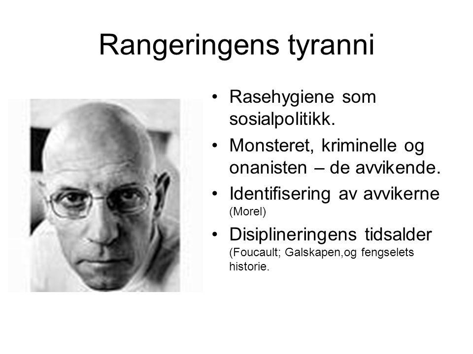 Rangeringens tyranni Rasehygiene som sosialpolitikk. Monsteret, kriminelle og onanisten – de avvikende. Identifisering av avvikerne (Morel) Disipliner