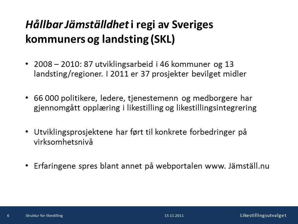 Likestillingsutvalget Hållbar Jämställdhet i regi av Sveriges kommuners og landsting (SKL) 2008 – 2010: 87 utviklingsarbeid i 46 kommuner og 13 landsting/regioner.