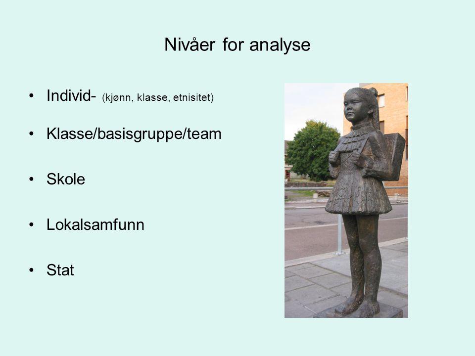 Nivåer for analyse Individ- (kjønn, klasse, etnisitet) Klasse/basisgruppe/team Skole Lokalsamfunn Stat