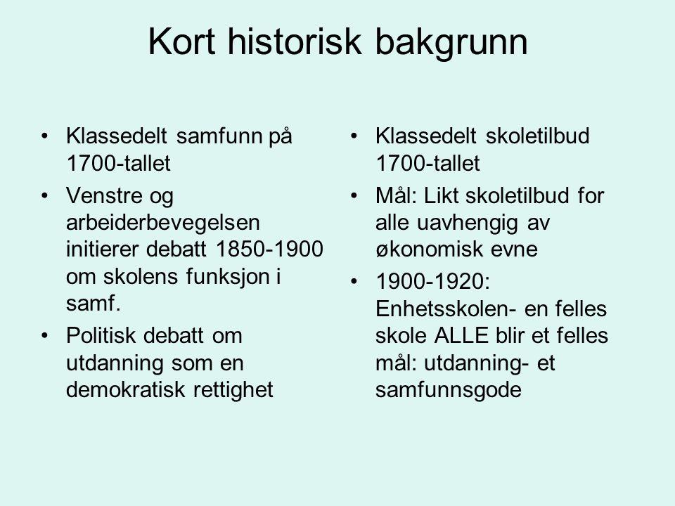 Kort historisk bakgrunn Klassedelt samfunn på 1700-tallet Venstre og arbeiderbevegelsen initierer debatt 1850-1900 om skolens funksjon i samf. Politis