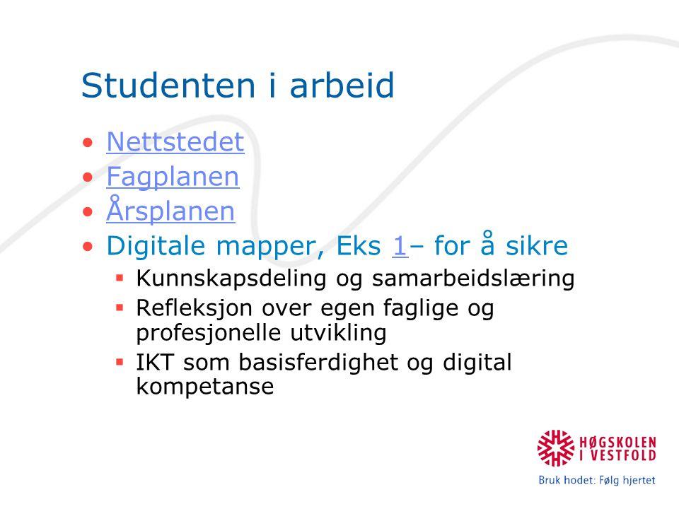 Studenten i arbeid Nettstedet Fagplanen Årsplanen Digitale mapper, Eks 1– for å sikre1  Kunnskapsdeling og samarbeidslæring  Refleksjon over egen faglige og profesjonelle utvikling  IKT som basisferdighet og digital kompetanse