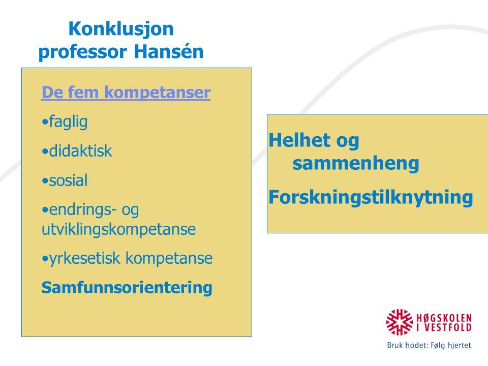 Konklusjon professor Hansén De fem kompetanser faglig didaktisk sosial endrings- og utviklingskompetanse yrkesetisk kompetanse Samfunnsorientering Helhet og sammenheng Forskningstilknytning