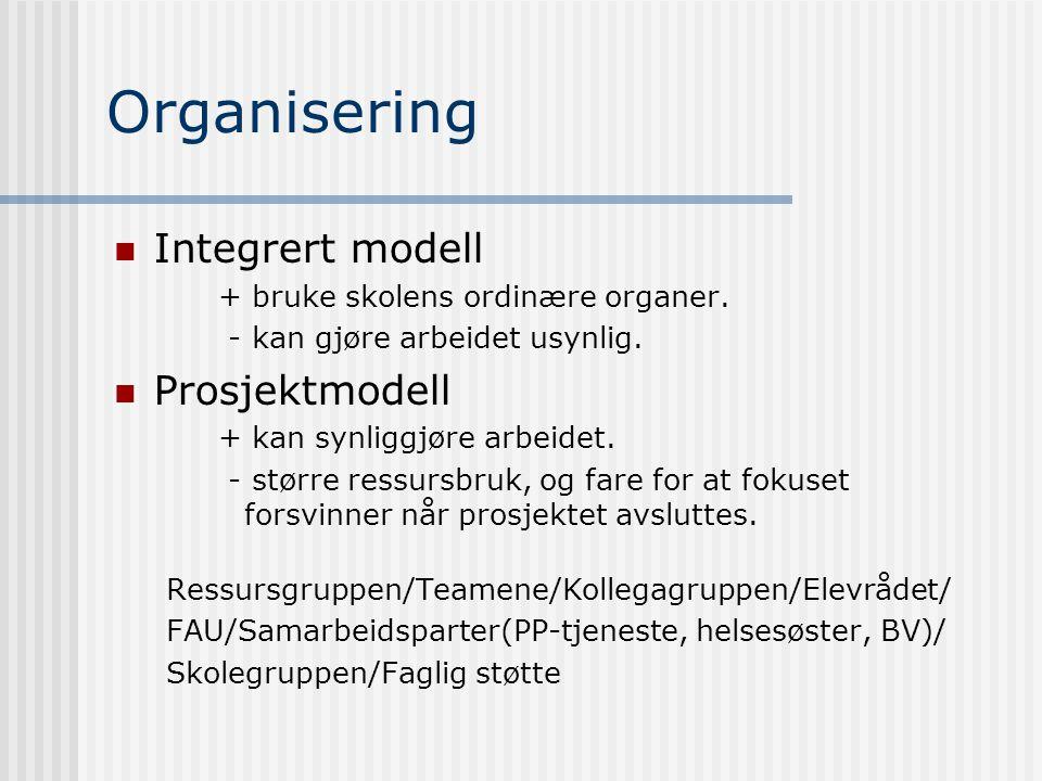 Organisering Integrert modell + bruke skolens ordinære organer. - kan gjøre arbeidet usynlig. Prosjektmodell + kan synliggjøre arbeidet. - større ress