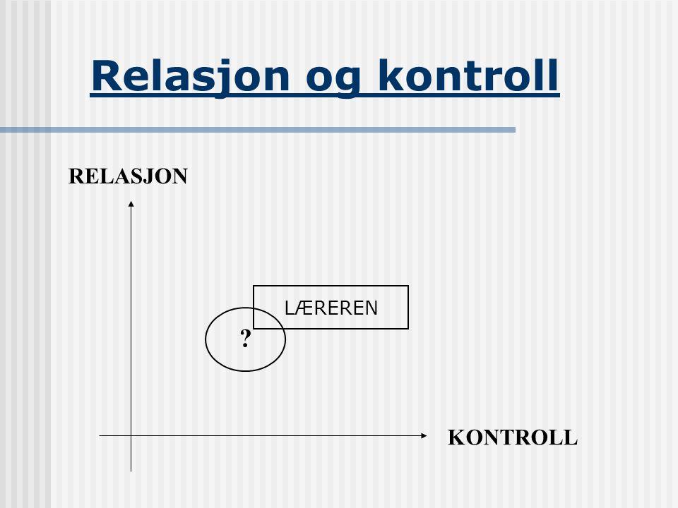 Relasjon og kontroll RELASJON KONTROLL ? LÆREREN