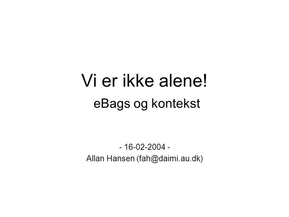 Vi er ikke alene! eBags og kontekst - 16-02-2004 - Allan Hansen (fah@daimi.au.dk)