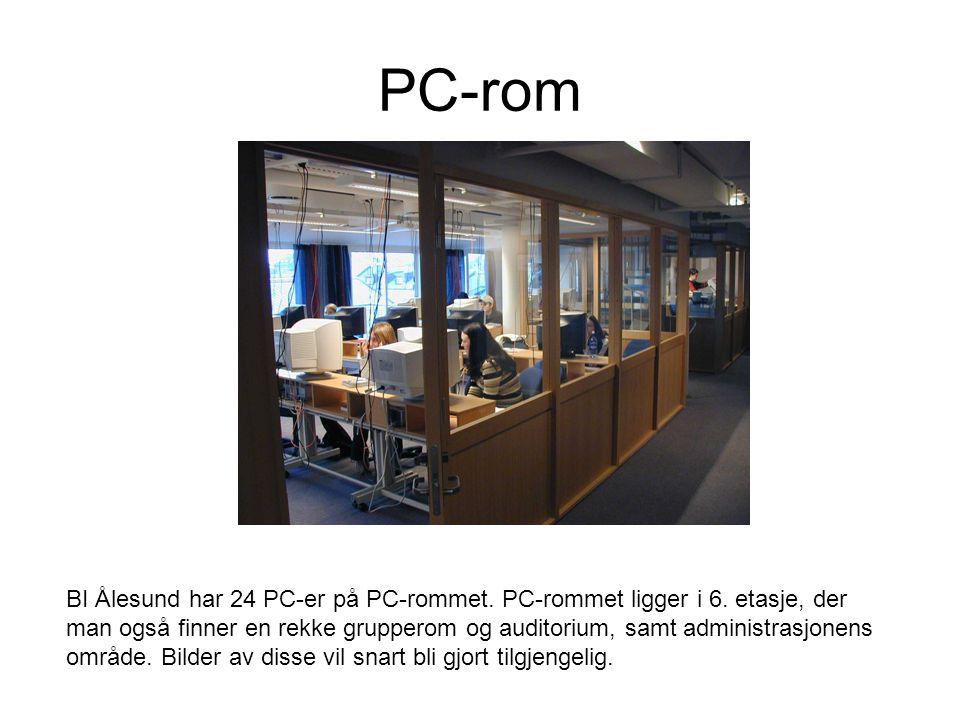 PC-rom BI Ålesund har 24 PC-er på PC-rommet. PC-rommet ligger i 6.