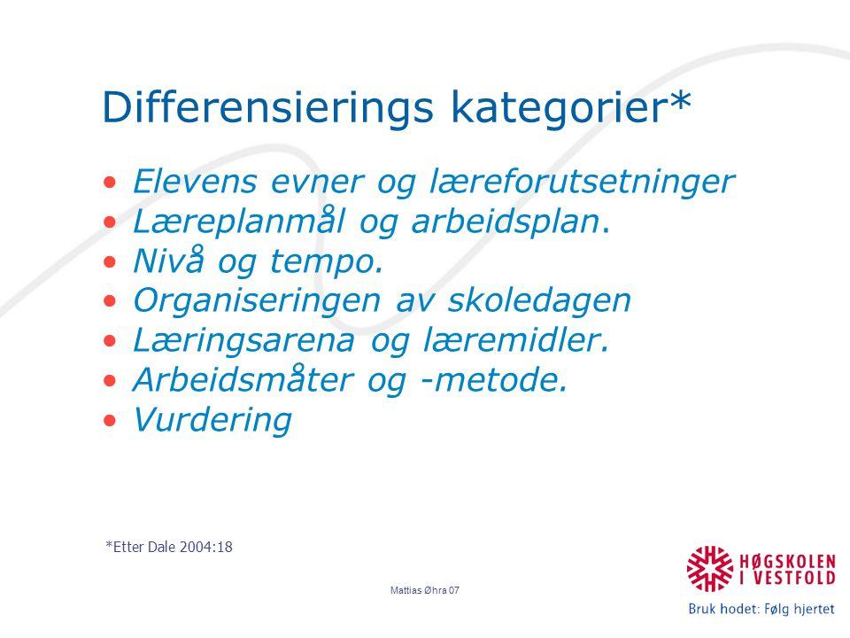 Mattias Øhra 07 Differensierings kategorier* Elevens evner og læreforutsetninger Læreplanmål og arbeidsplan. Nivå og tempo. Organiseringen av skoledag