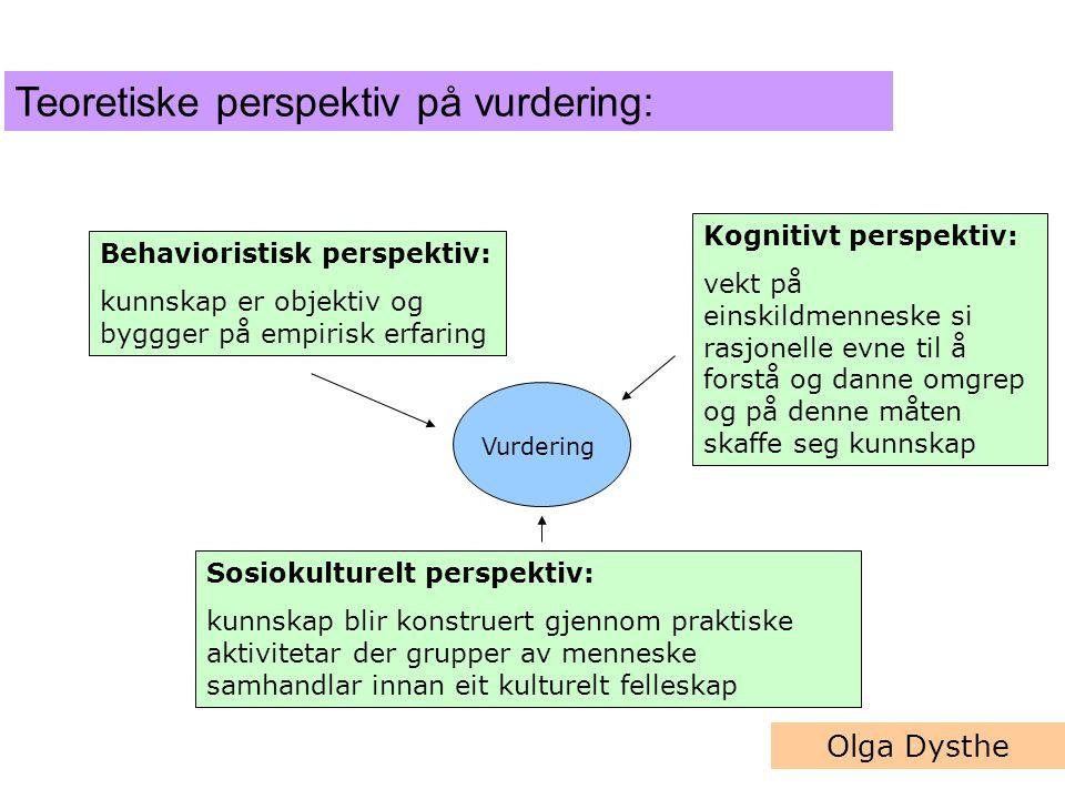 Behavioristisk perspektiv: kunnskap er objektiv og byggger på empirisk erfaring Kognitivt perspektiv: vekt på einskildmenneske si rasjonelle evne til å forstå og danne omgrep og på denne måten skaffe seg kunnskap Sosiokulturelt perspektiv: kunnskap blir konstruert gjennom praktiske aktivitetar der grupper av menneske samhandlar innan eit kulturelt felleskap Vurdering Olga Dysthe Teoretiske perspektiv på vurdering: