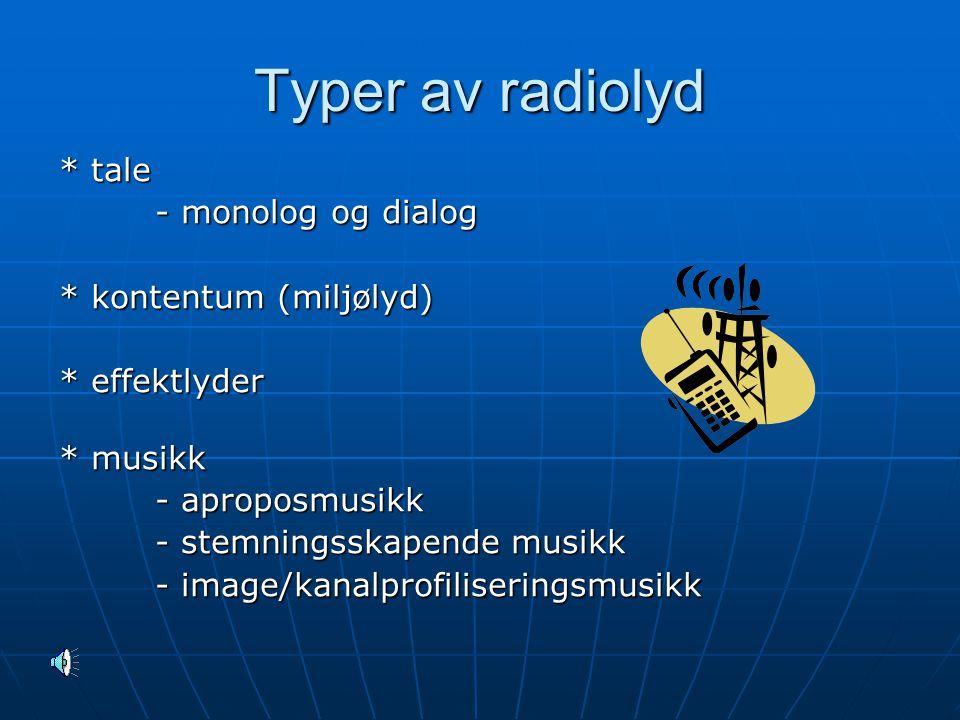 Typer av radiolyd * tale - monolog og dialog * kontentum (miljølyd) * effektlyder * musikk - aproposmusikk - stemningsskapende musikk - image/kanalprofiliseringsmusikk