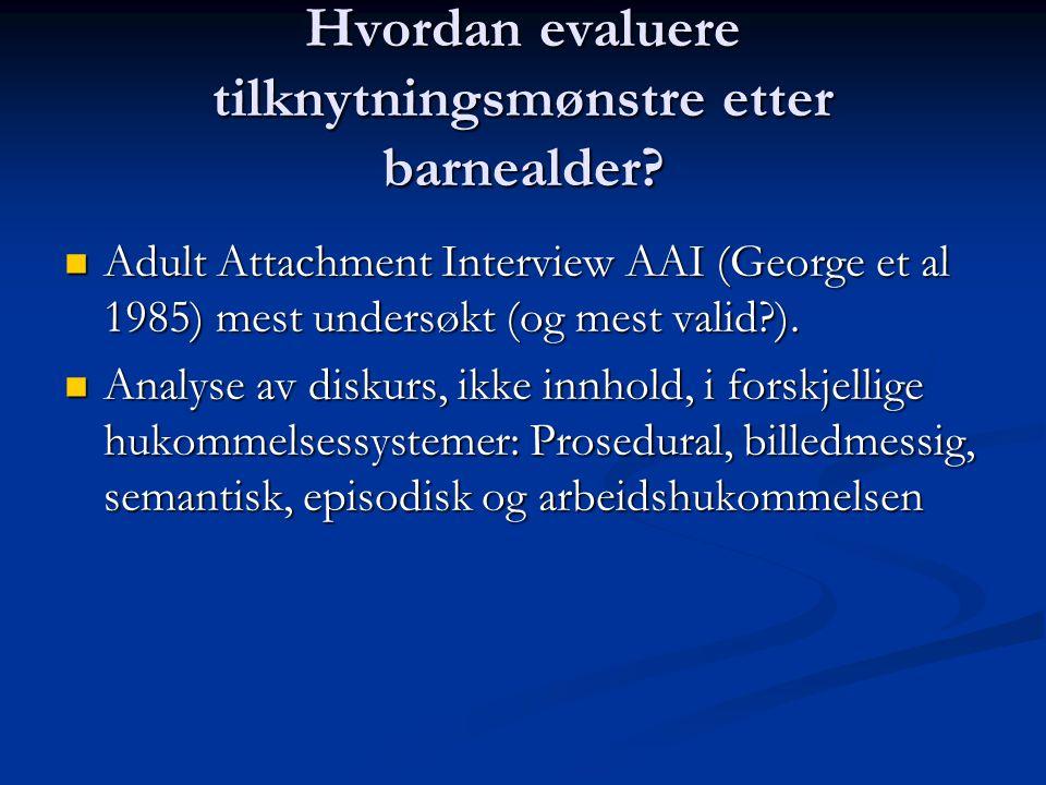 Hvordan evaluere tilknytningsmønstre etter barnealder? Adult Attachment Interview AAI (George et al 1985) mest undersøkt (og mest valid?). Adult Attac