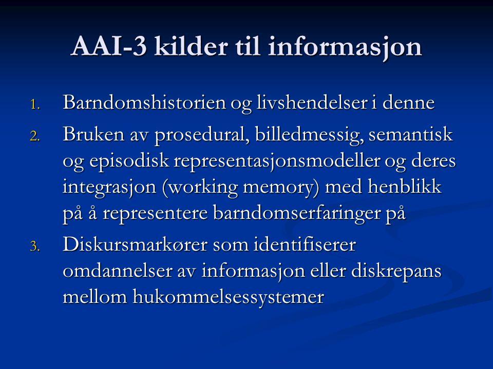 AAI-3 kilder til informasjon 1. Barndomshistorien og livshendelser i denne 2. Bruken av prosedural, billedmessig, semantisk og episodisk representasjo