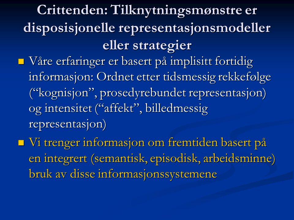 Crittenden: Tilknytningsmønstre er disposisjonelle representasjonsmodeller eller strategier Våre erfaringer er basert på implisitt fortidig informasjo