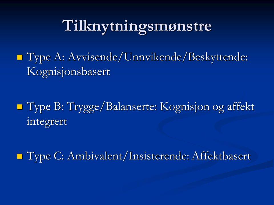 Tilknytningsmønstre Type A: Avvisende/Unnvikende/Beskyttende: Kognisjonsbasert Type A: Avvisende/Unnvikende/Beskyttende: Kognisjonsbasert Type B: Tryg