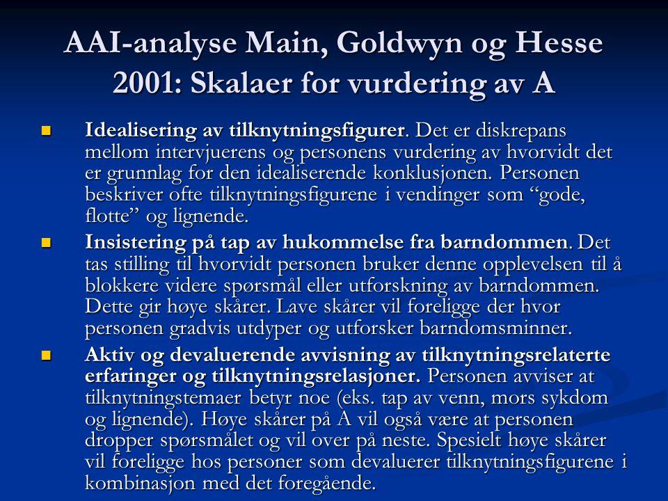 AAI-analyse Main, Goldwyn og Hesse 2001: Skalaer for vurdering av A Idealisering av tilknytningsfigurer. Det er diskrepans mellom intervjuerens og per