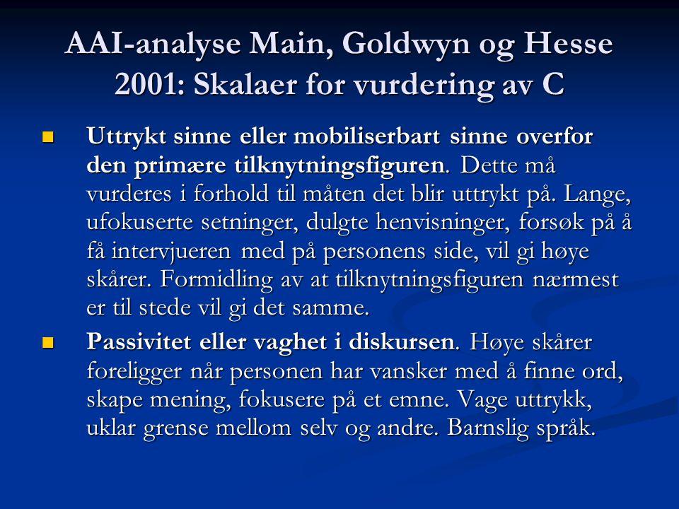 AAI-analyse Main, Goldwyn og Hesse 2001: Skalaer for vurdering av C Uttrykt sinne eller mobiliserbart sinne overfor den primære tilknytningsfiguren. D