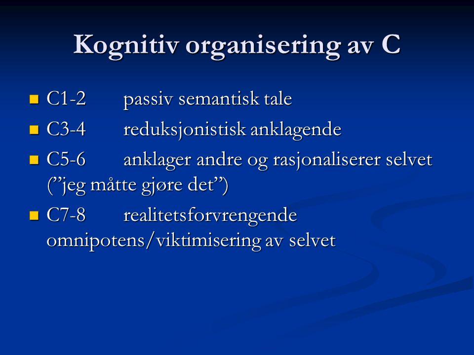 Kognitiv organisering av C C1-2passiv semantisk tale C1-2passiv semantisk tale C3-4reduksjonistisk anklagende C3-4reduksjonistisk anklagende C5-6ankla