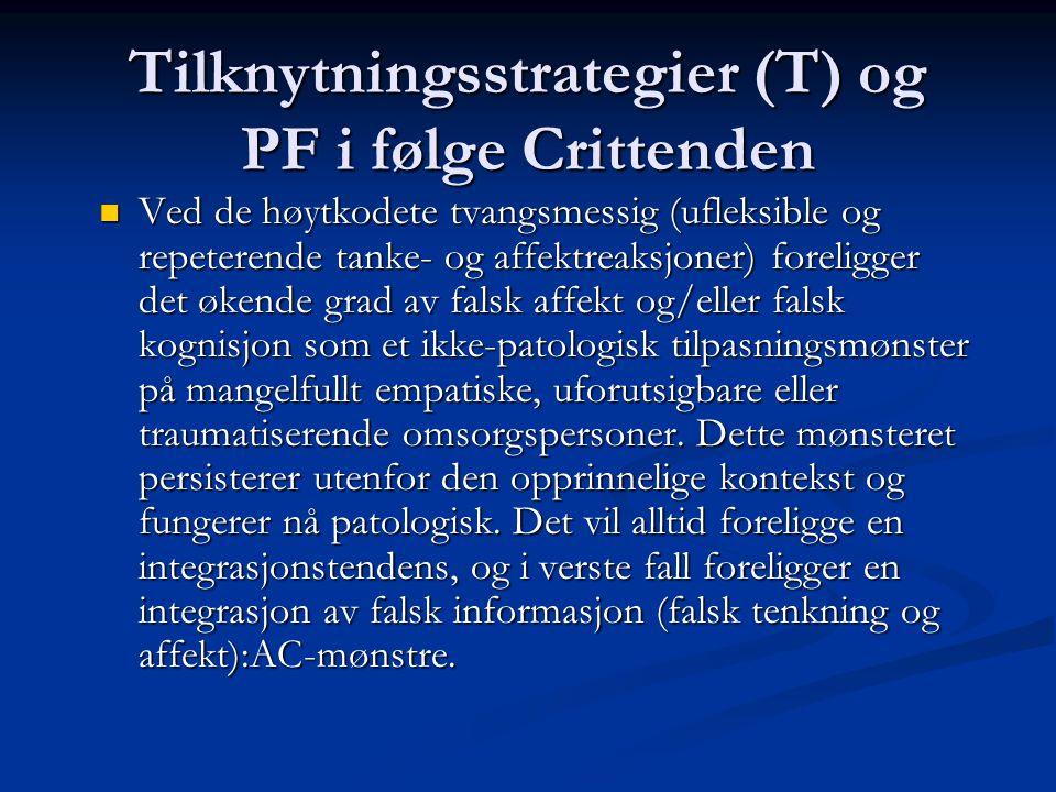 Tilknytningsstrategier (T) og PF i følge Crittenden Ved de høytkodete tvangsmessig (ufleksible og repeterende tanke- og affektreaksjoner) foreligger d
