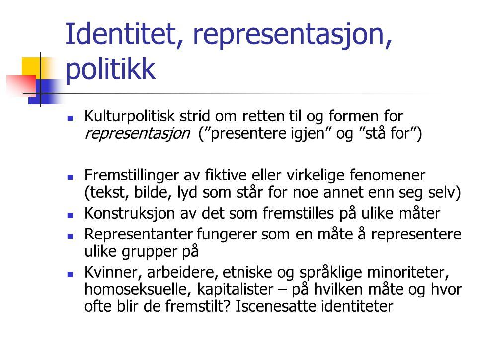 """Identitet, representasjon, politikk Kulturpolitisk strid om retten til og formen for representasjon (""""presentere igjen"""" og """"stå for"""") Fremstillinger a"""