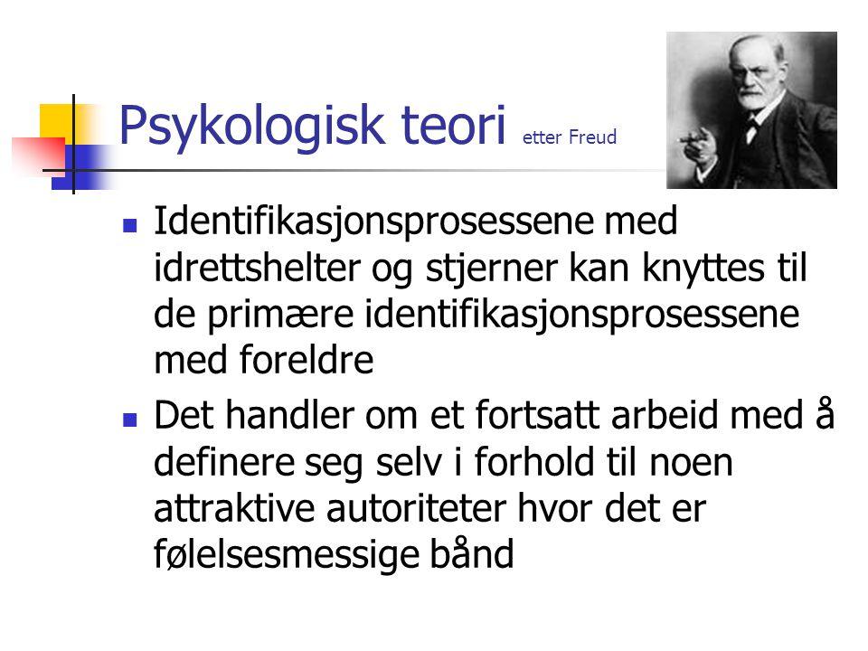 Psykologisk teori etter Freud Identifikasjonsprosessene med idrettshelter og stjerner kan knyttes til de primære identifikasjonsprosessene med foreldr