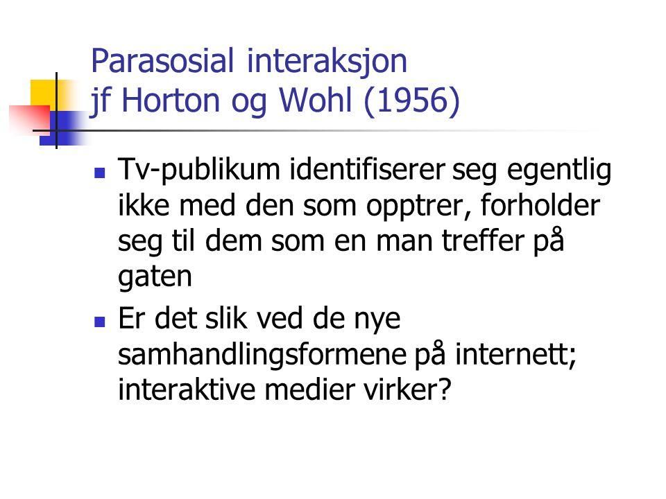 Parasosial interaksjon jf Horton og Wohl (1956) Tv-publikum identifiserer seg egentlig ikke med den som opptrer, forholder seg til dem som en man tref