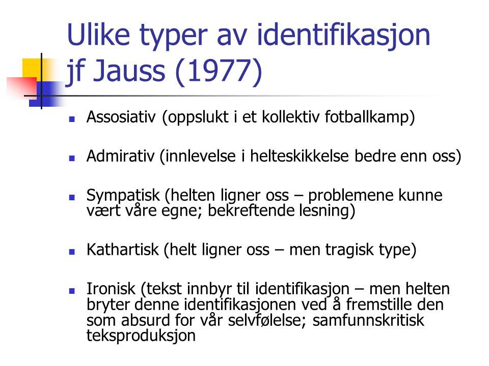 Ulike typer av identifikasjon jf Jauss (1977) Assosiativ (oppslukt i et kollektiv fotballkamp) Admirativ (innlevelse i helteskikkelse bedre enn oss) S