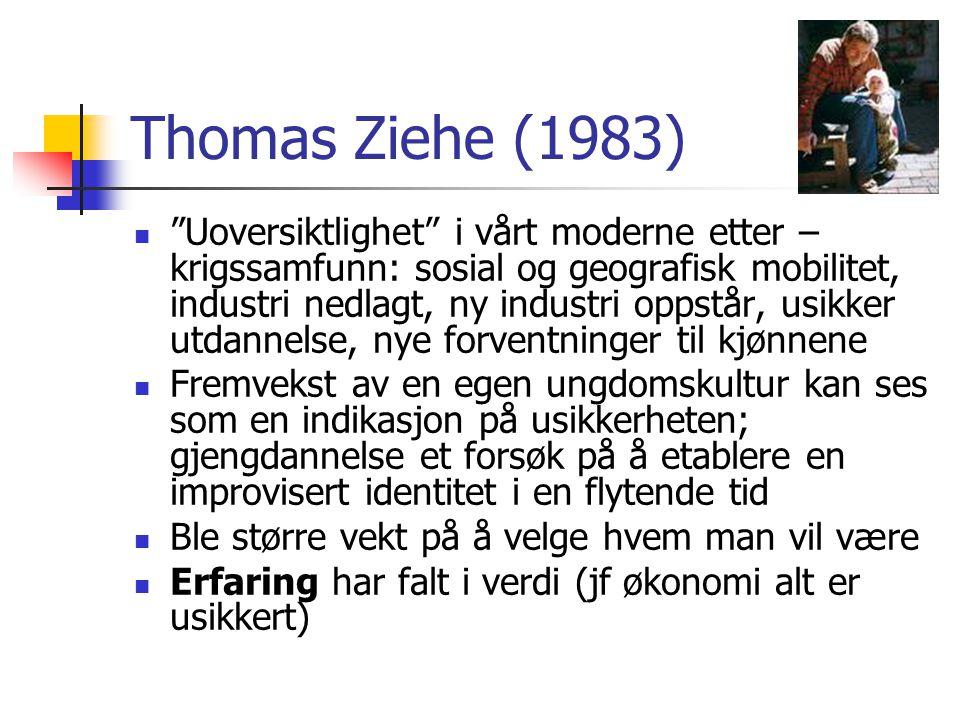 """Thomas Ziehe (1983) """"Uoversiktlighet"""" i vårt moderne etter – krigssamfunn: sosial og geografisk mobilitet, industri nedlagt, ny industri oppstår, usik"""