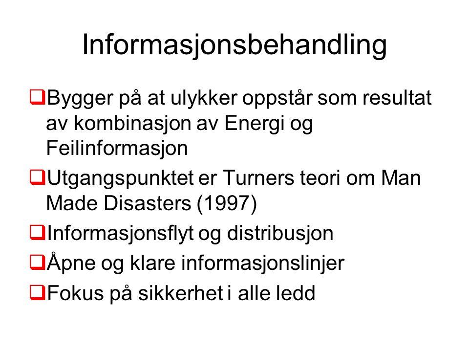 Informasjonsbehandling  Bygger på at ulykker oppstår som resultat av kombinasjon av Energi og Feilinformasjon  Utgangspunktet er Turners teori om Ma