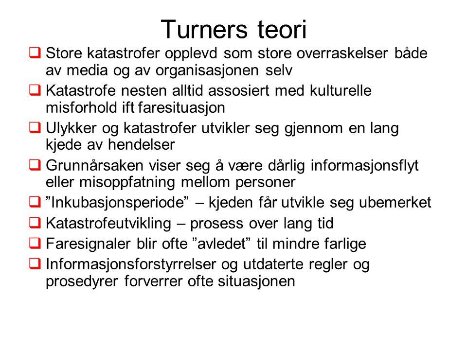 Turners teori  Store katastrofer opplevd som store overraskelser både av media og av organisasjonen selv  Katastrofe nesten alltid assosiert med kul