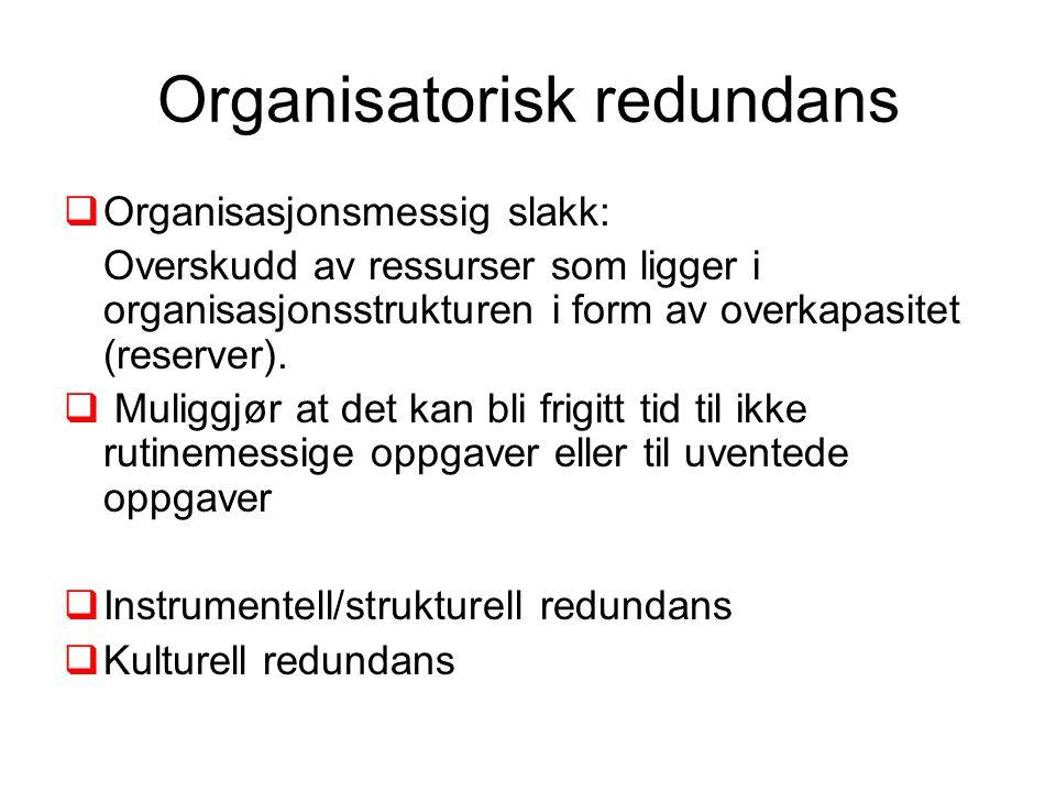 Organisatorisk redundans  Organisasjonsmessig slakk: Overskudd av ressurser som ligger i organisasjonsstrukturen i form av overkapasitet (reserver).