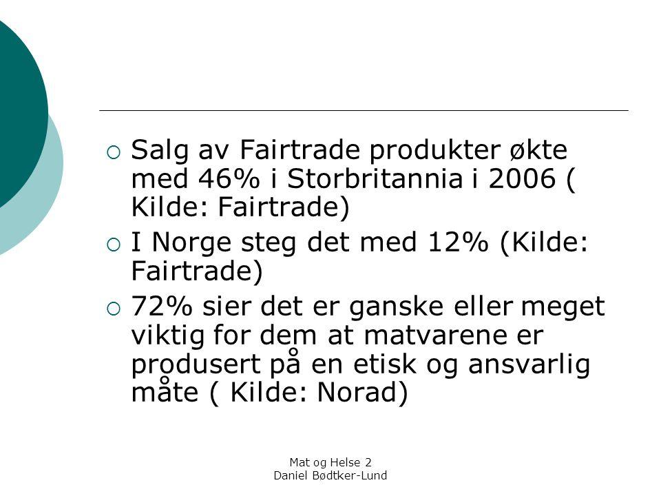 Mat og Helse 2 Daniel Bødtker-Lund  16% har sist måned kjøpt rettferdig-handel-varer  53% har kjøpt miljømerket mat  37% har kjøpt økologiske varer  ( Kilde: Lisbeth Berg, Sifo, Kompetente forbrukere, 2005 og Sifo-survey 2005)  Ergo; det finnes vilje hos forbrukerne