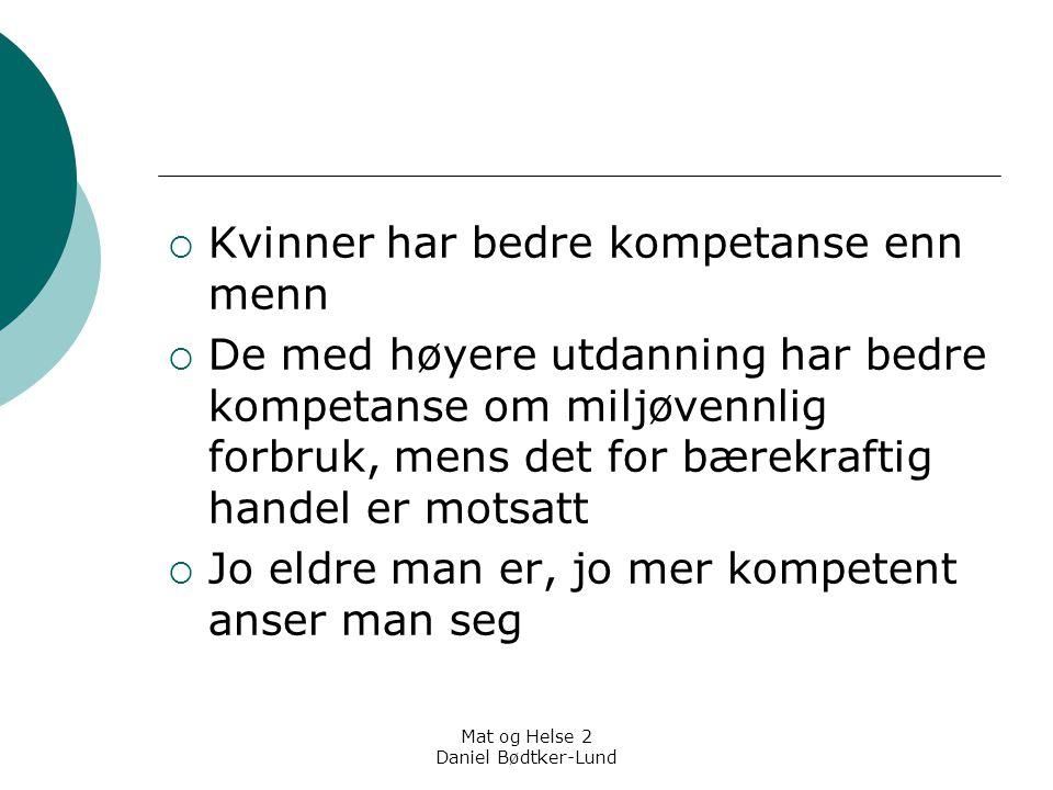 Mat og Helse 2 Daniel Bødtker-Lund  Kvinner har bedre kompetanse enn menn  De med høyere utdanning har bedre kompetanse om miljøvennlig forbruk, men