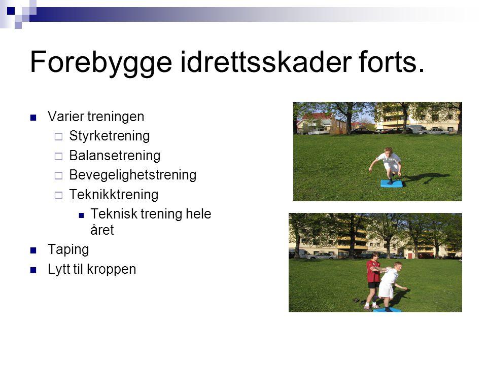 Forebygge idrettsskader forts. Varier treningen  Styrketrening  Balansetrening  Bevegelighetstrening  Teknikktrening Teknisk trening hele året Tap